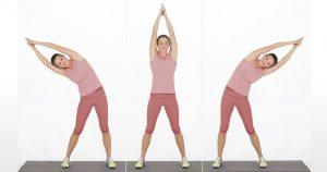etirement dos debout flexion